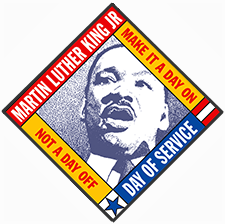 Image of Martin Luther King Jr, with text: Martin Luther King Jr Day of Service. Make it a day on, not a day off.