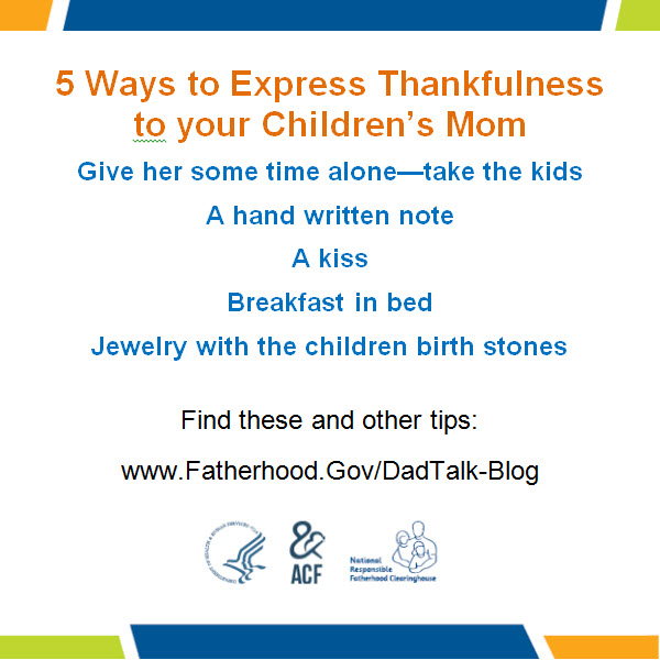 5 Ways to Express Thankfulness to your Children's Mom