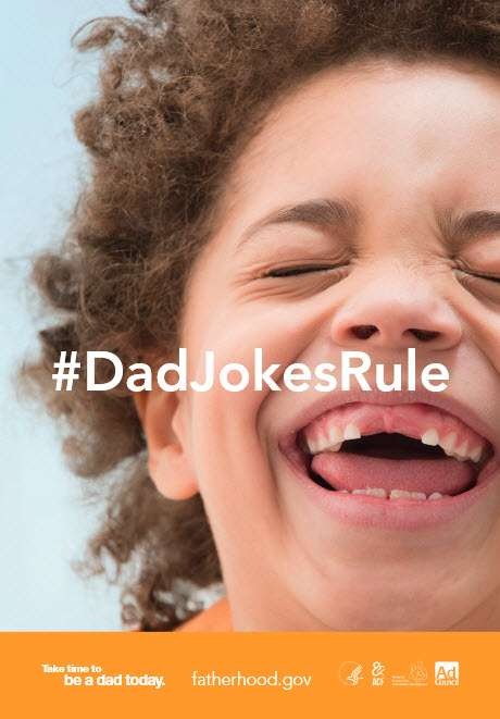 [text] #DadJokesRule [photo] Boy, missing two front teeth, laughing